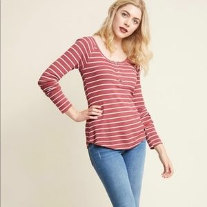 ModCloth Striped Henley Top